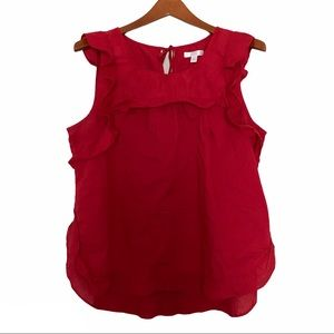 LC Lauren Conrad ruffle blouse top red large